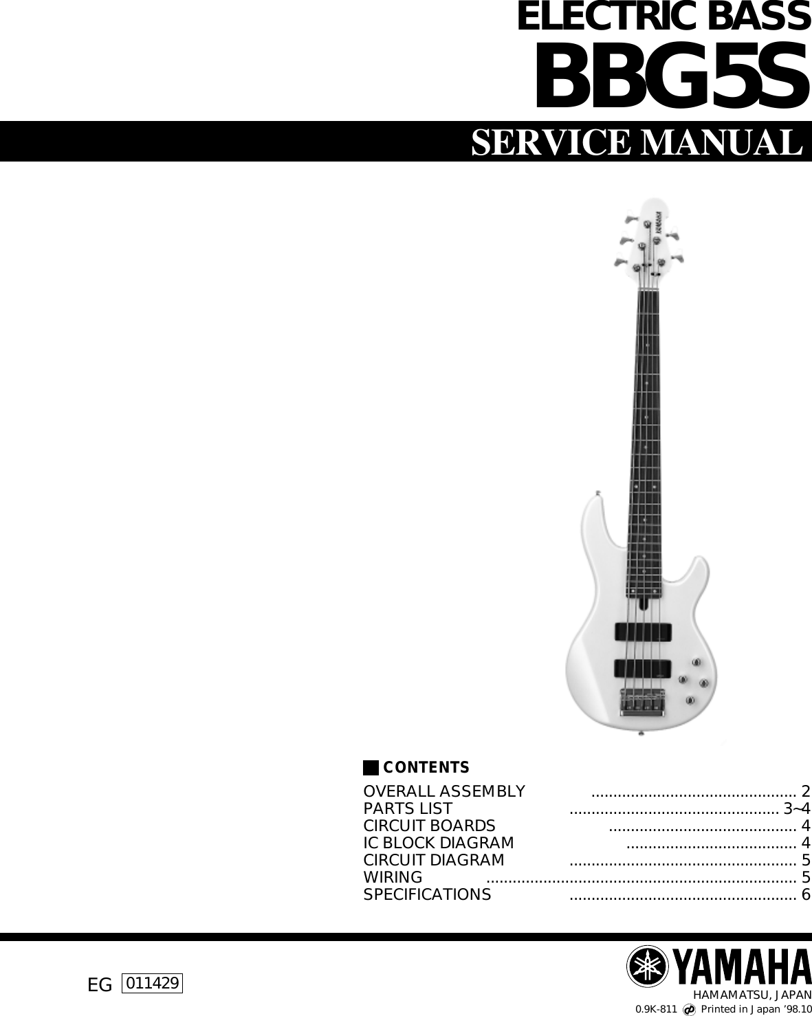Yamaha Guitar Bbg5s Users Manual Electric Bass B Wiring Diagram