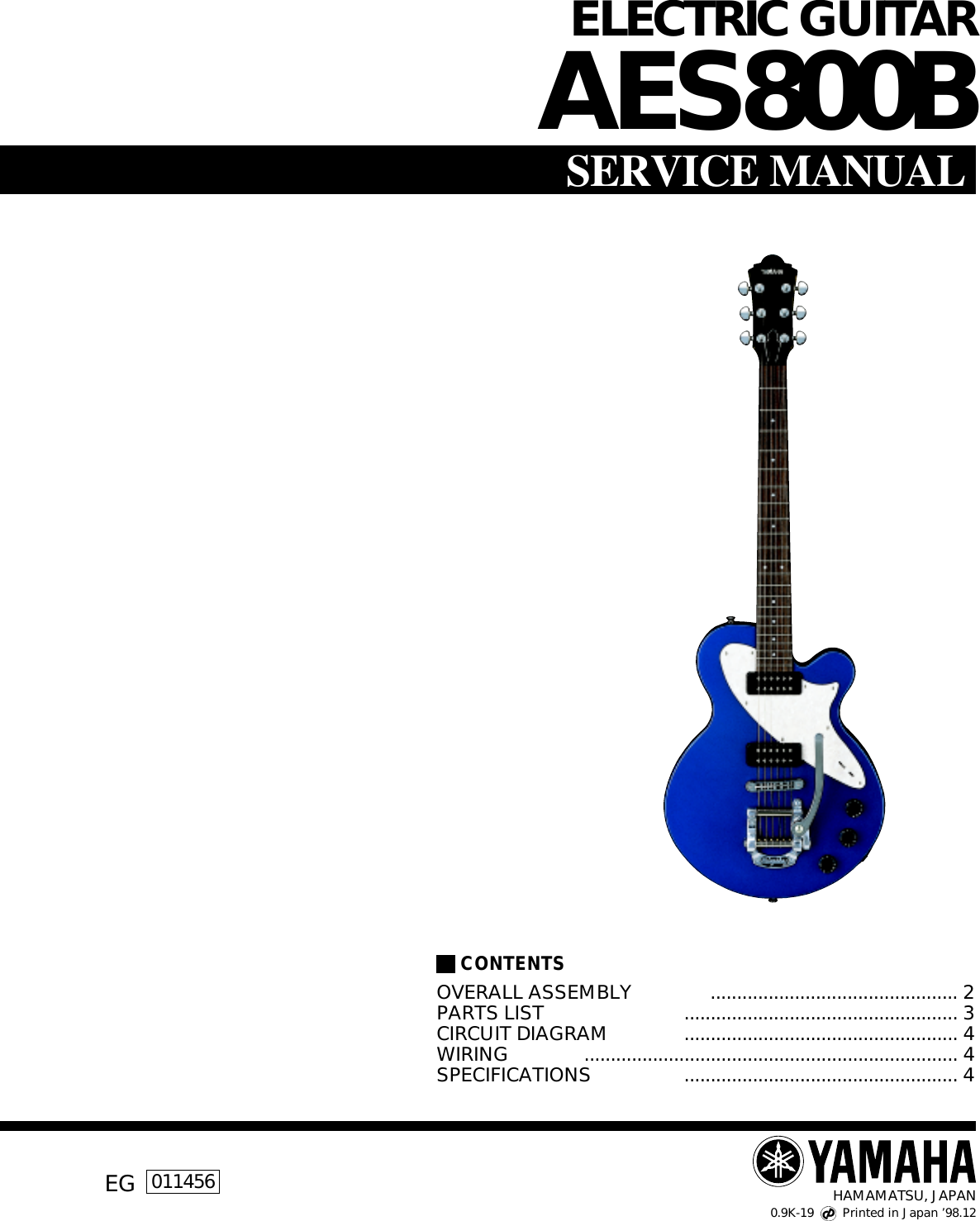 Yamaha Guitar Eg 011456 Users Manual Electric Acoustic Parts Diagram