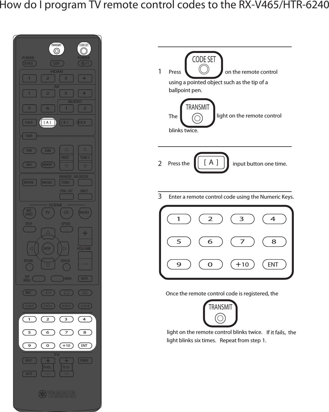 Yamaha RX V465 HTR 6240 How Do I Program My TV Remote
