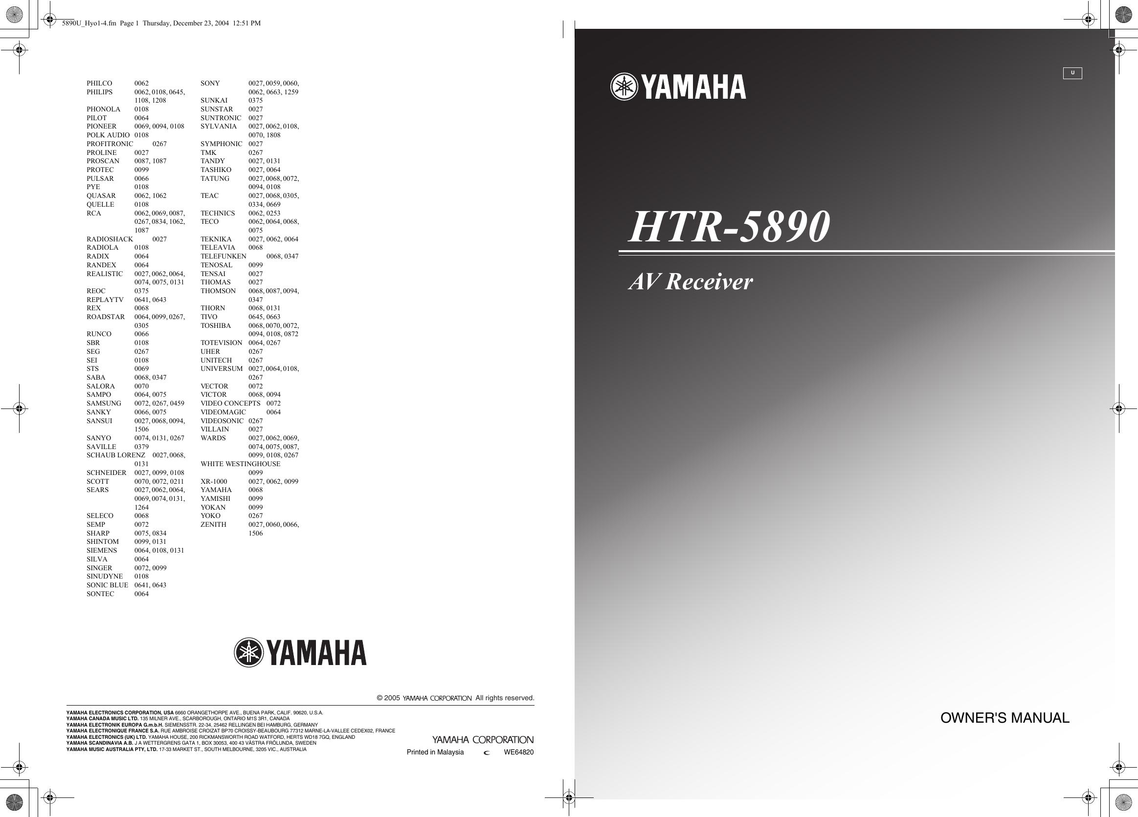 yamaha htr 5890 owners manual rh usermanual wiki