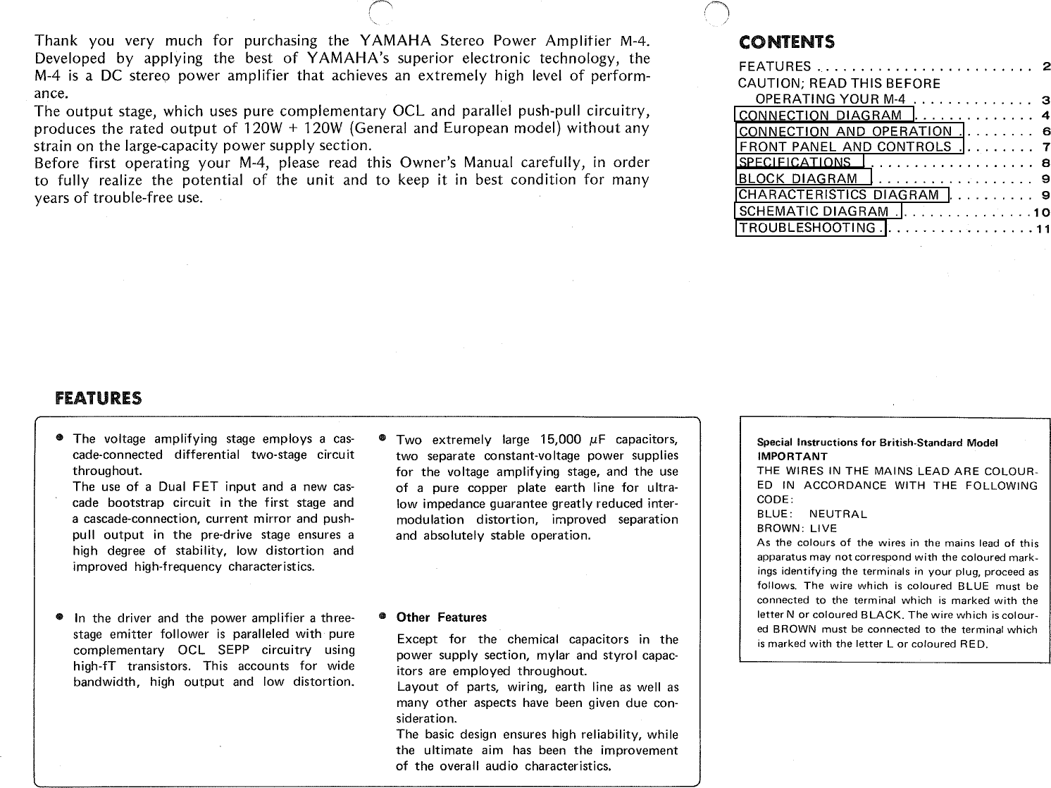 Yamaha M 4 Owners Manual M4 Schematic Page 2 Of 12