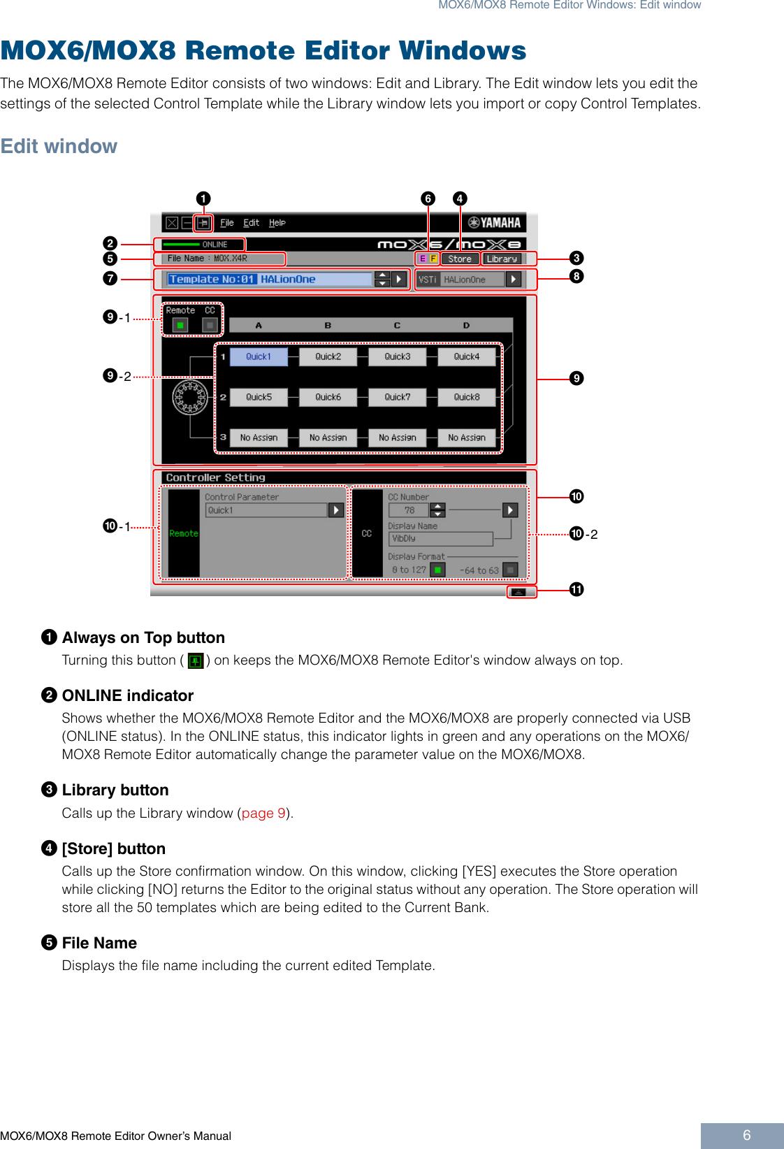 Yamaha Mox6 Users Manual MOX6/MOX8 Remote Editor Owner's