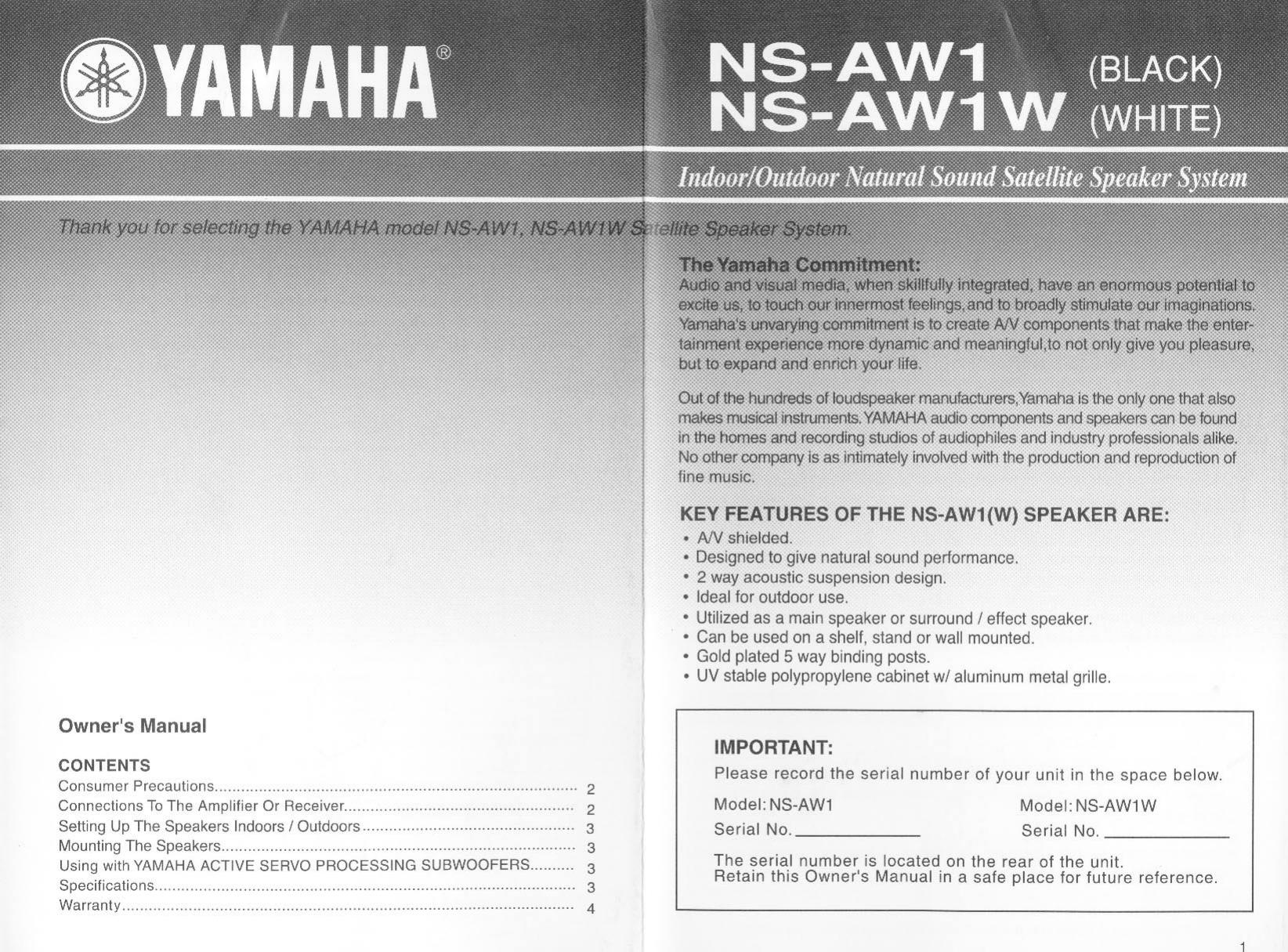 Yamaha nsaw1 part 1 ns aw1w manual publicscrutiny Choice Image