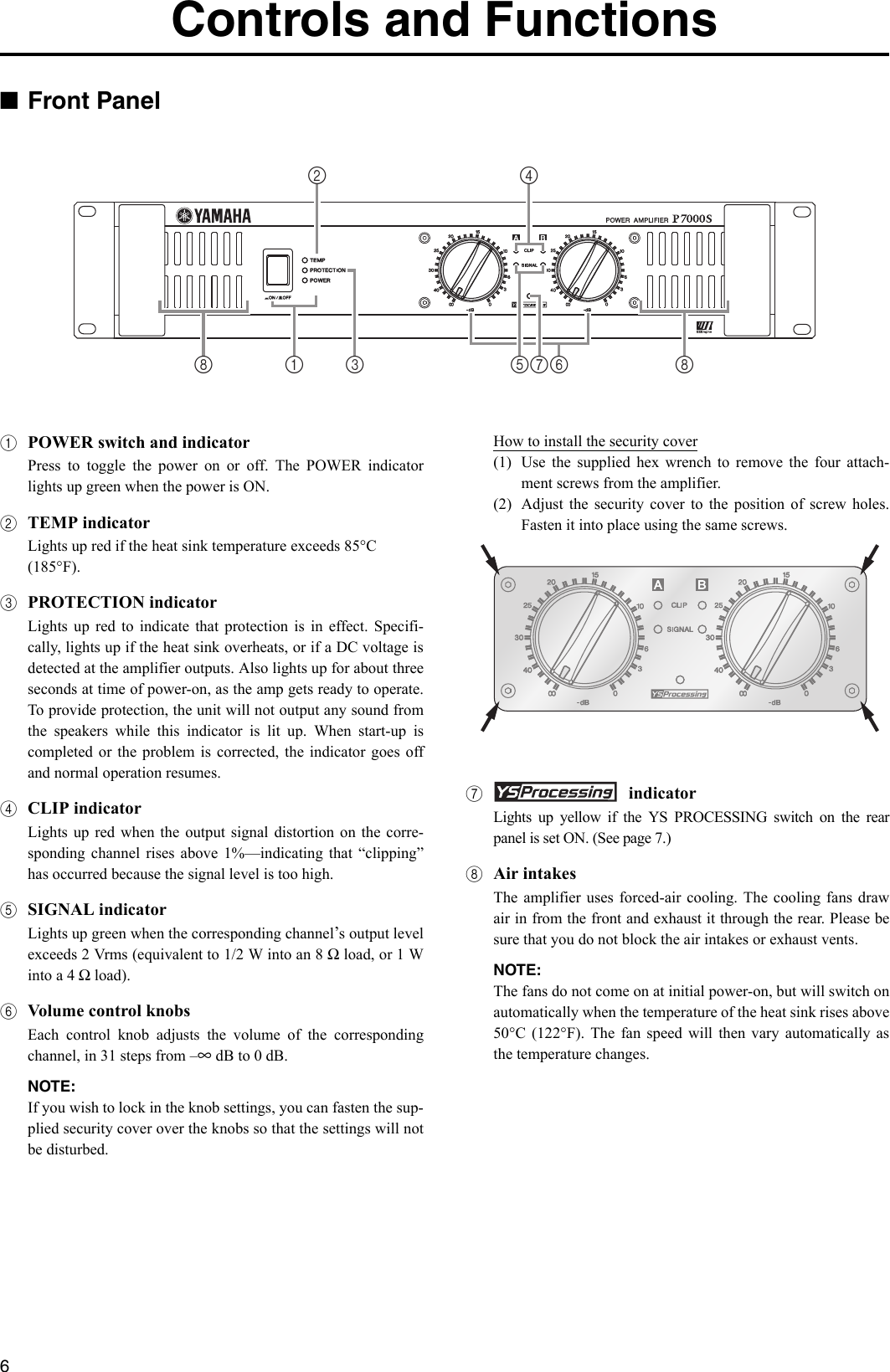 Yamaha P7000S P5000S P3500S P2500S Owners Manual P7000S ... on