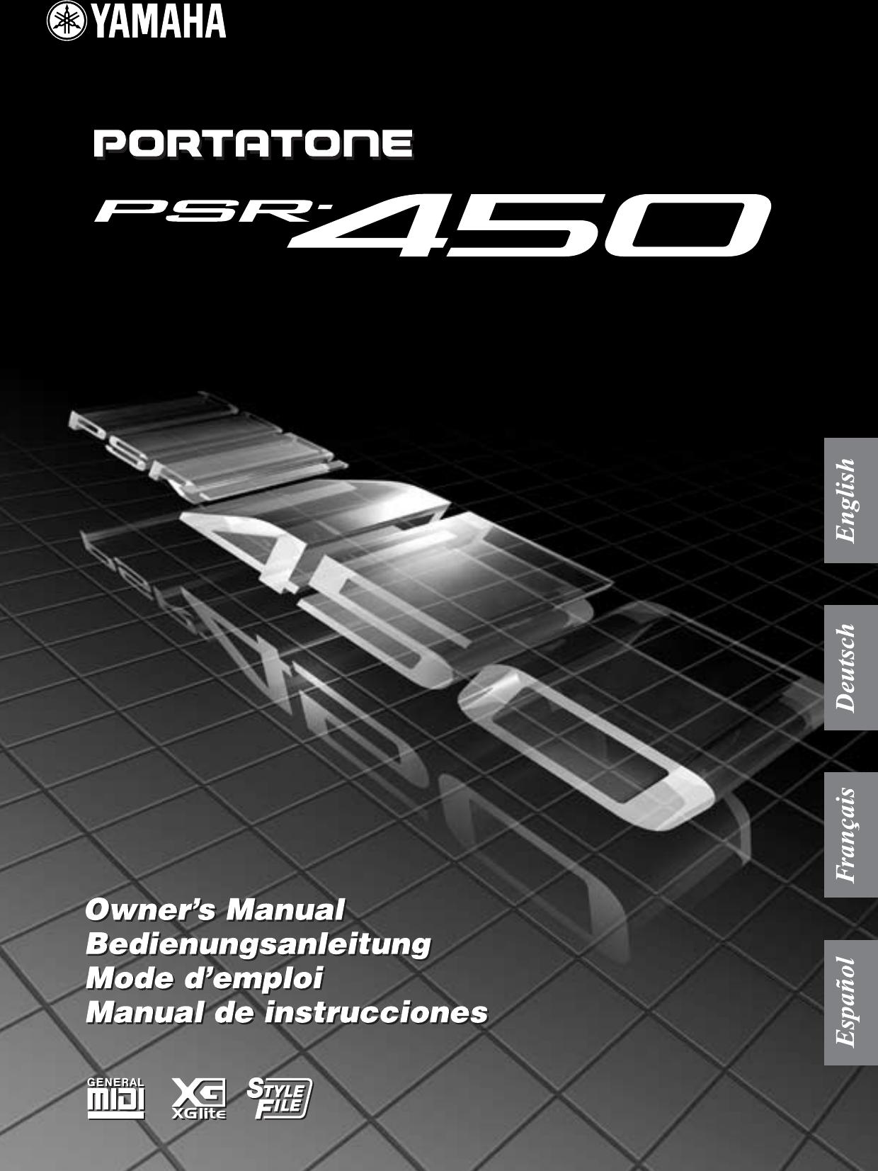 Yamaha Psr450_e PSR 450 Owner's Manual PSR450G