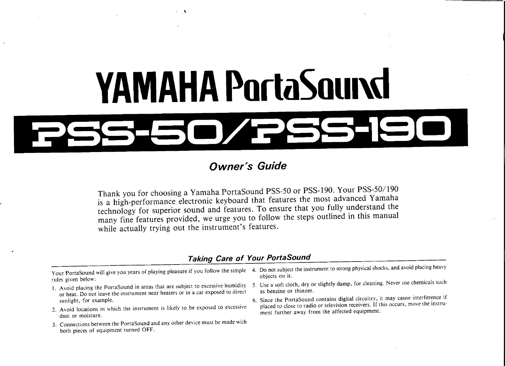 Yamaha PSS 50/PSS 190 Owner's Manual (Image) PSS190E