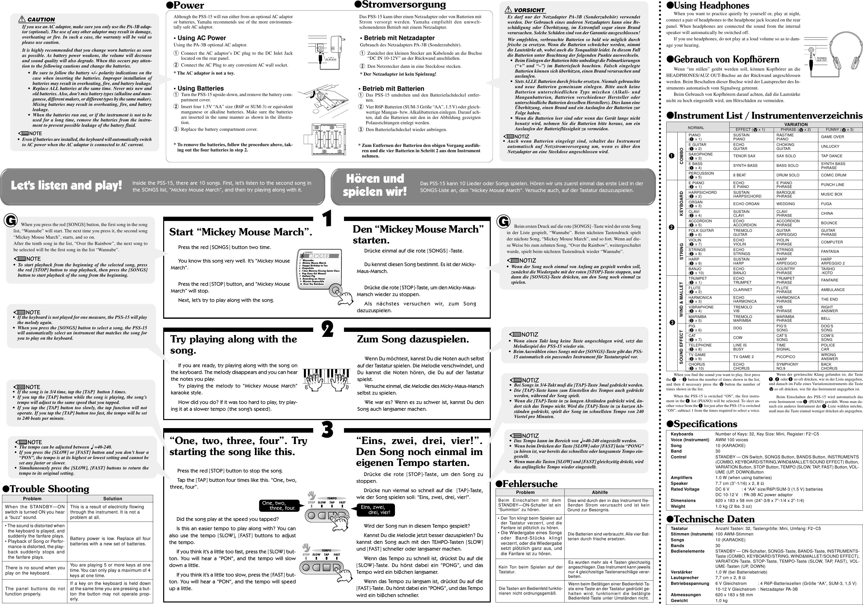 Yamaha Portasound Pss 15 Owners Manual