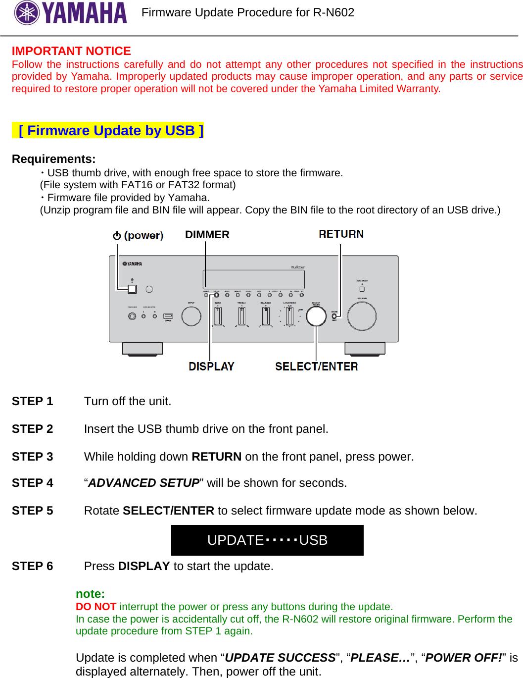 Yamaha R N602 FirmwareUpdate Procedure_ENx Firmware