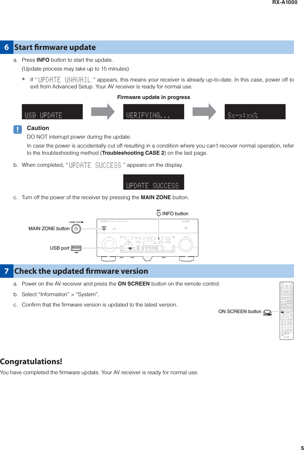 Yamaha FIRMWARE UPDATING PROCEDURE RX A1000 Update Version