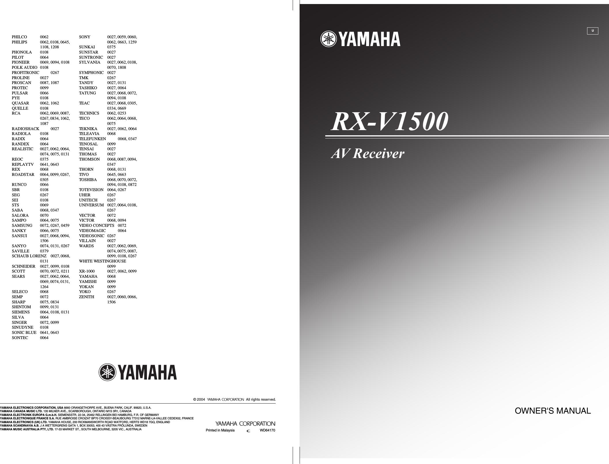 User Manual Yamaha Rx Manual Guide