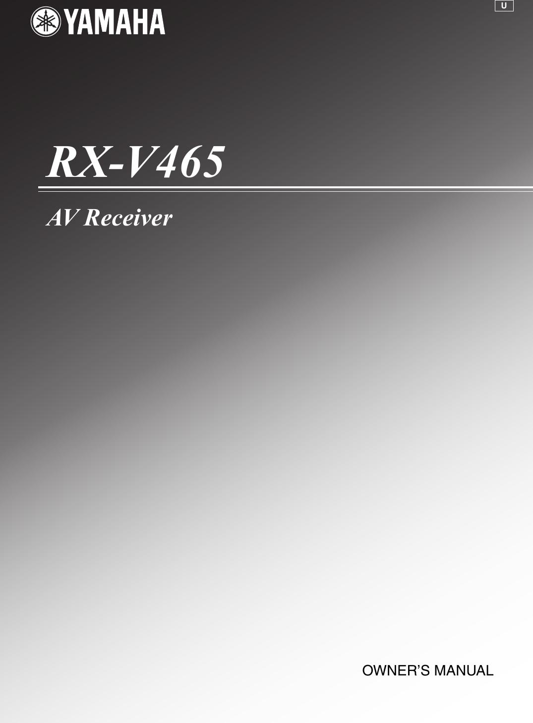 Yamaha RX V465 Owners Manual