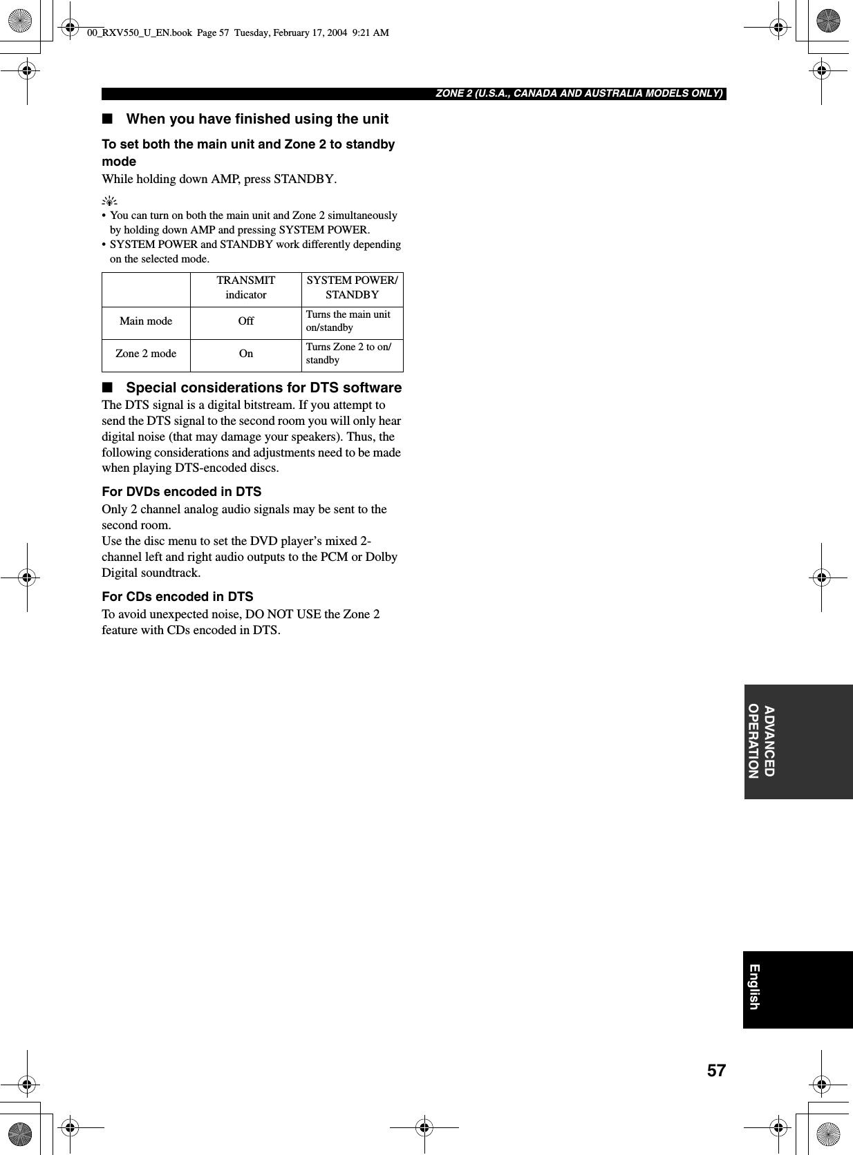 Yamaha 00_RXV550_U_EN RX V550 Owner's Manual E