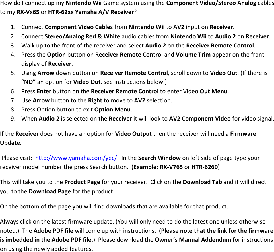 Yamaha Wii Canx Rx V765 Game Console Hookup Diagram For Component Audio Visual System Hook Up Page 2 Of