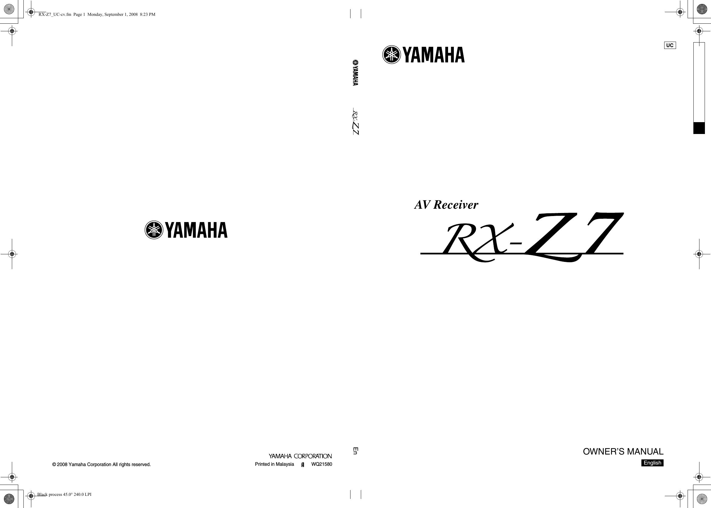 Yamaha Rx Z7 Owners Manual Rxz Wiring Diagram Pdf