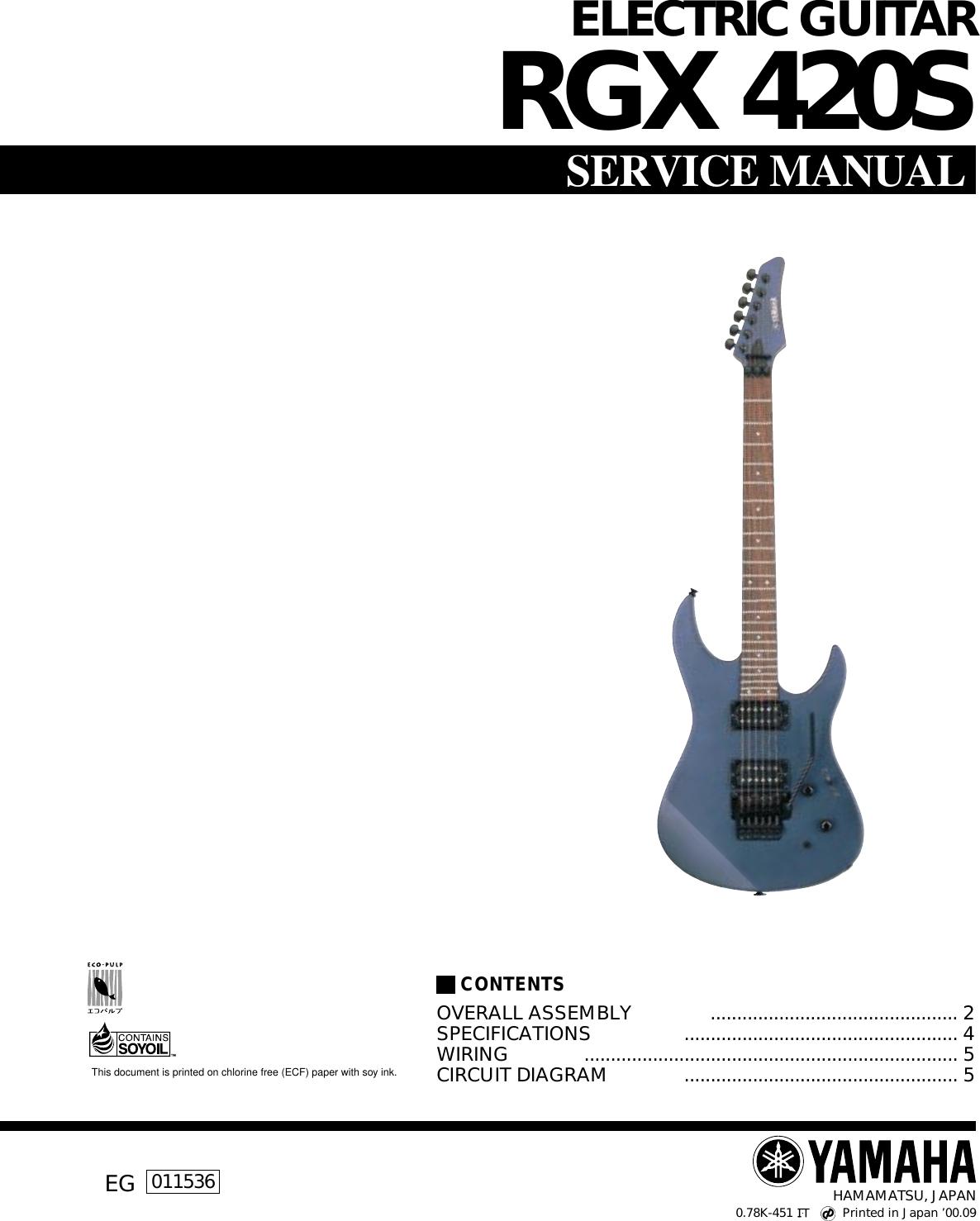 Yamaha Rgx 420s Users Manual Fender Guitar Manuals Parts B Wiring Diagram S Schematics
