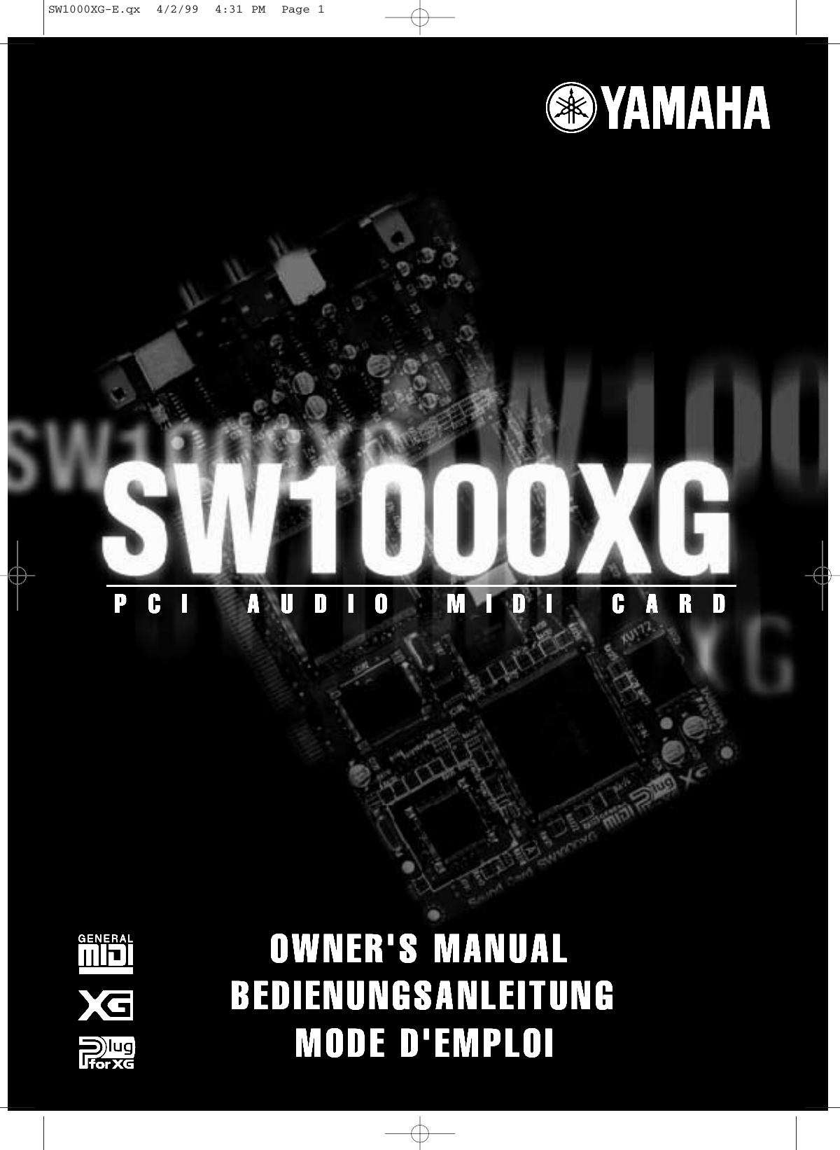 Yamaha SW1000cover SW1000XG Owner's Manual SW1000XGG1