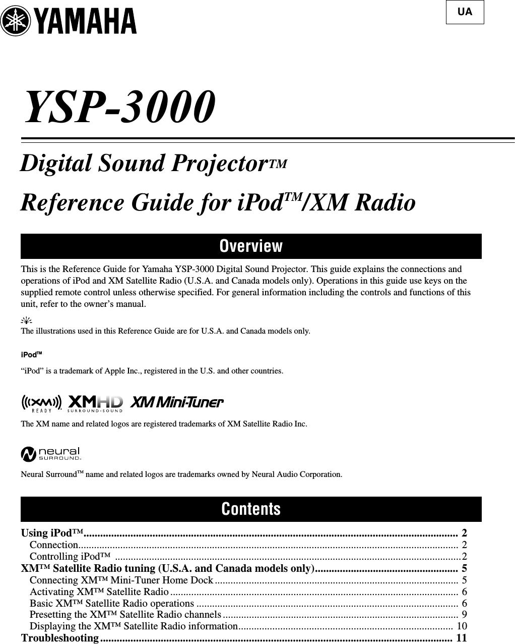 Yamaha YSP 3000 I Pod Reference Guide V 1.1 Rev1 1