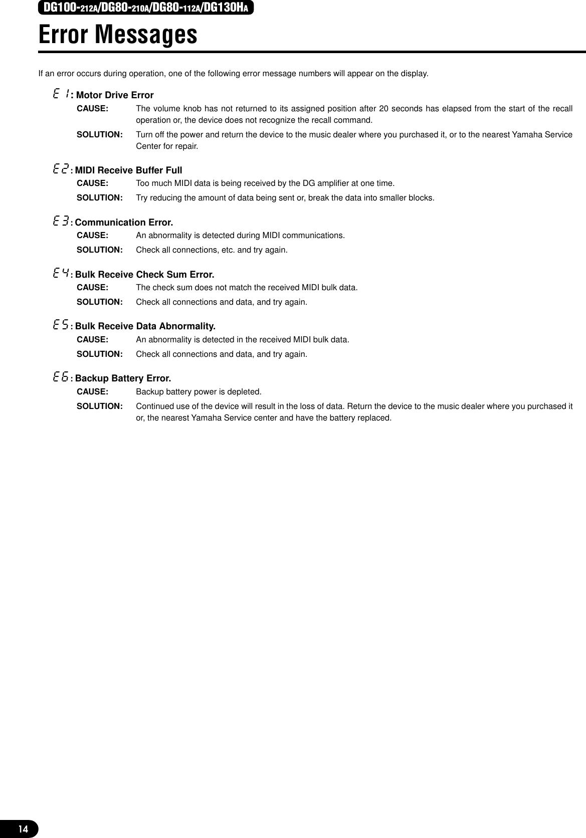 Yamaha DG130H Owner's Manual 1