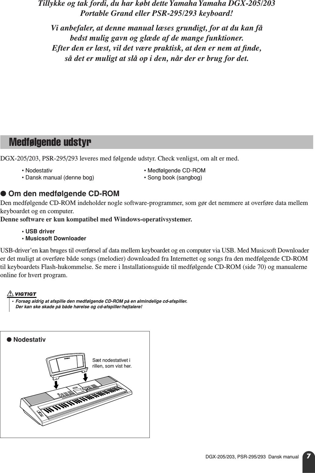 Yamaha DGX 205/203, PSR 295/293 Dansk Manual 205/DGX 203/PSR 295/PSR