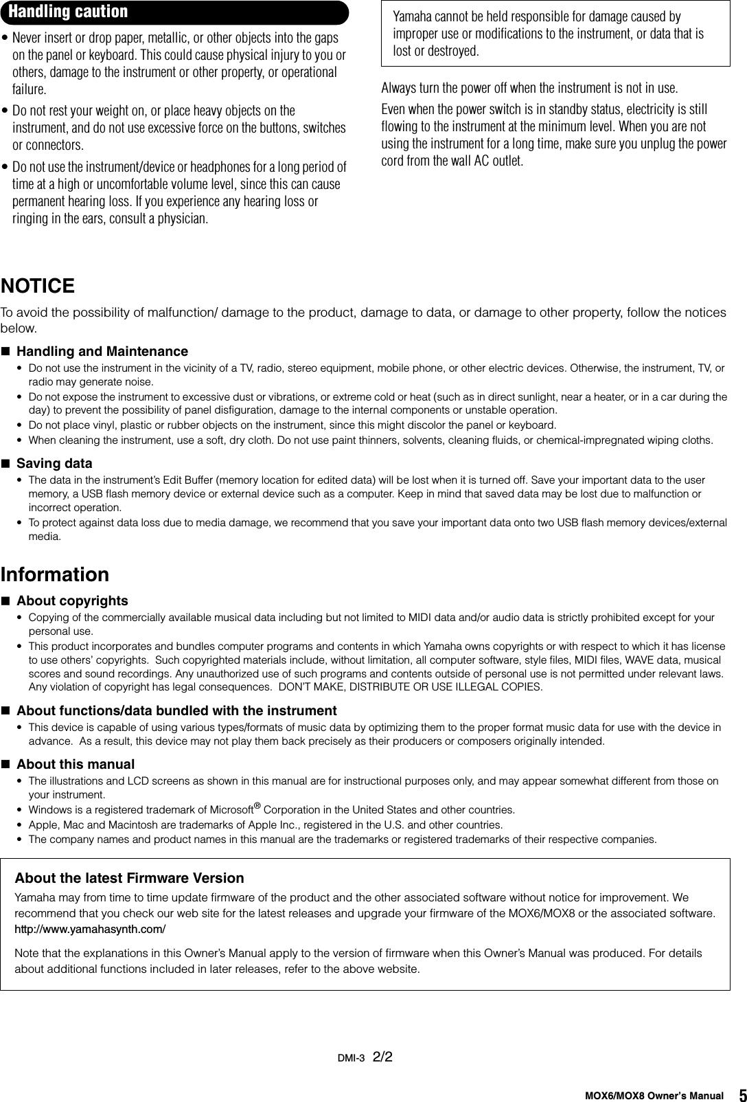 Yamaha MOX6 / MOX8 Owner's Manual MOX6/MOX8 Owner's Mox6mox8 En Om B0