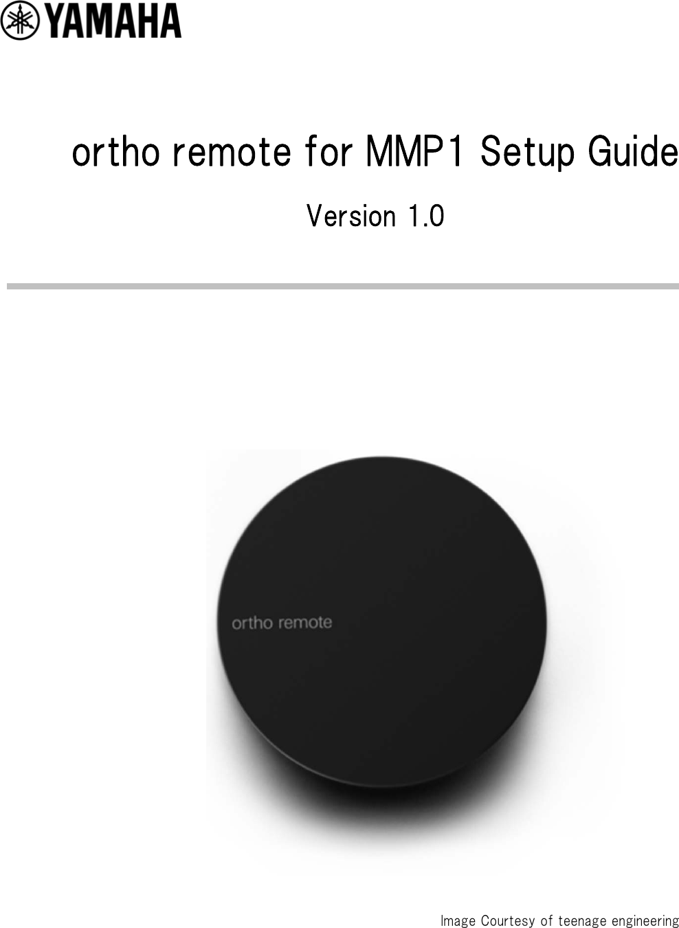 Yamaha Ortho Remote For MMP1 Setup Guide