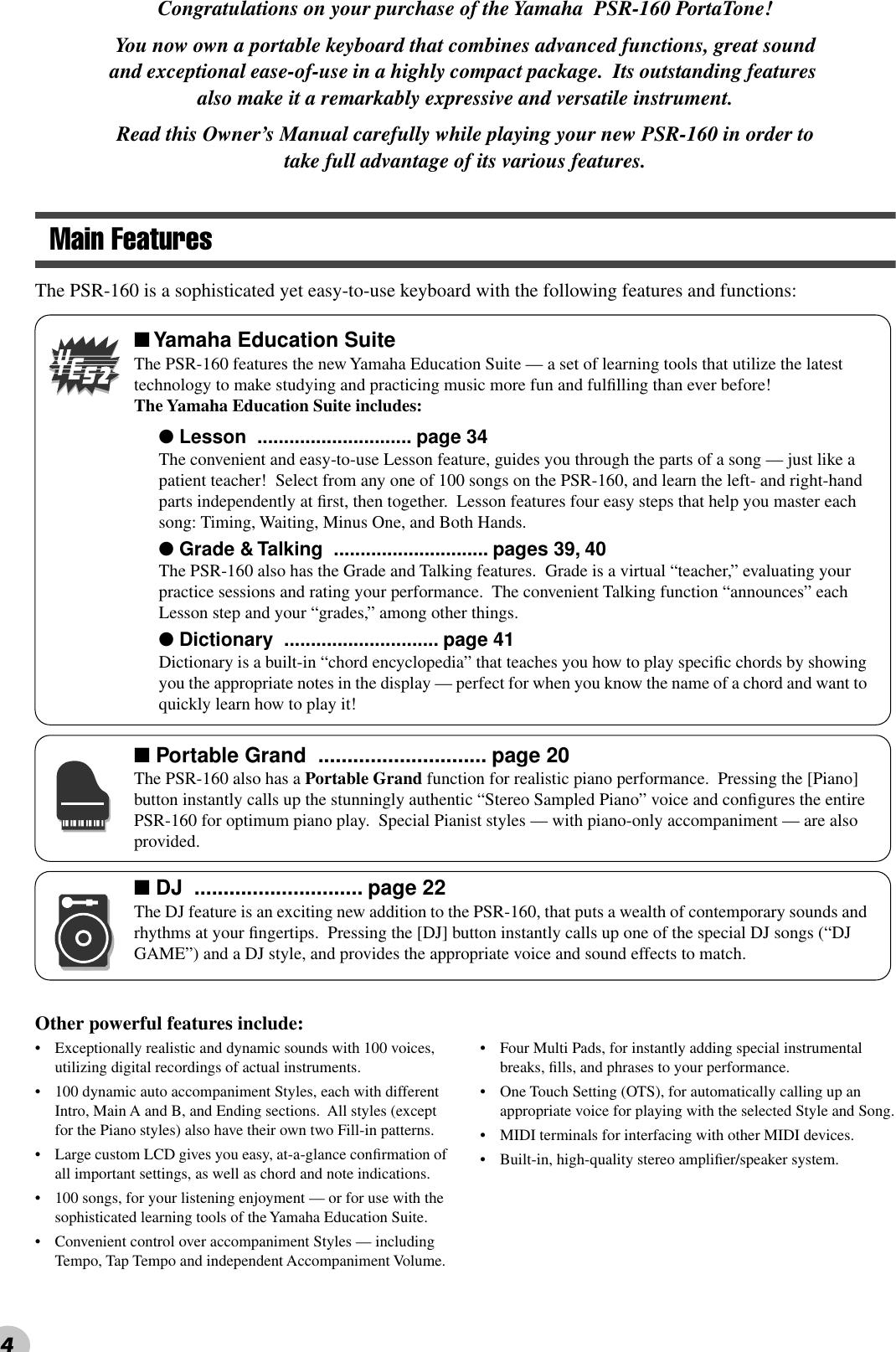 Yamaha PSR160 Owner's Manual