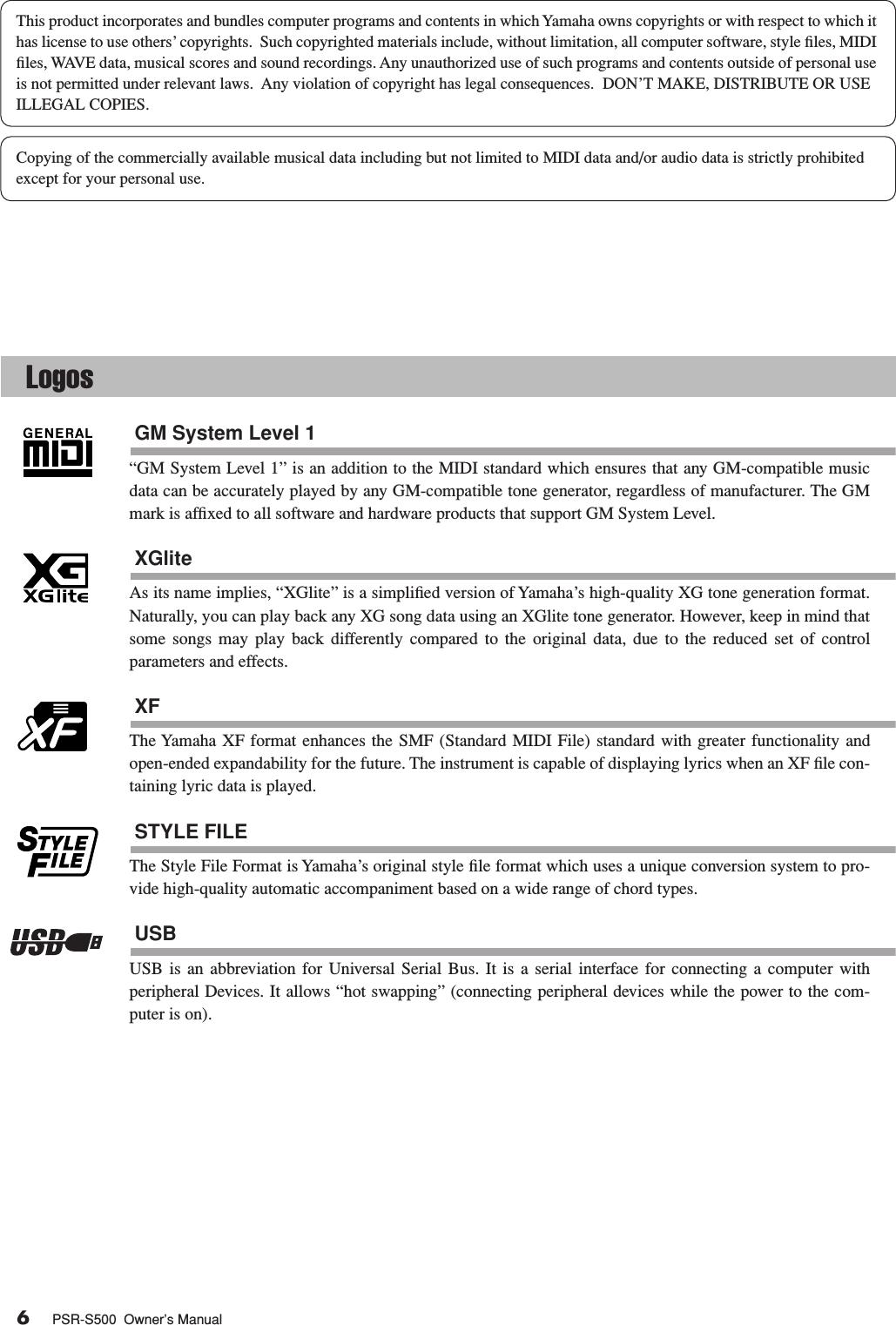 Yamaha PSR S500 Owner's Manual Psrs500 En Om A1