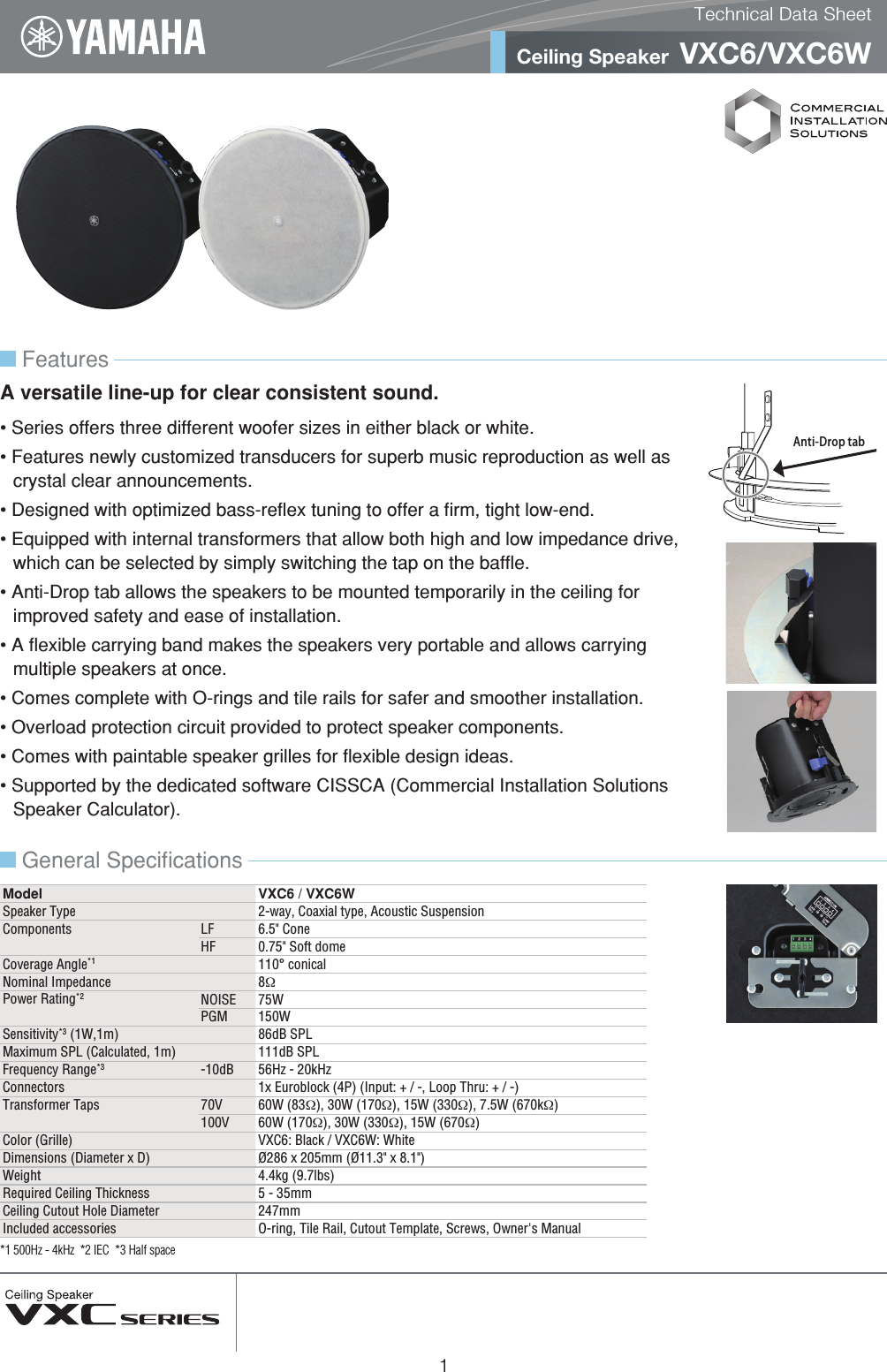 Yamaha VXC6 Technical Data Sheet Datasheet En