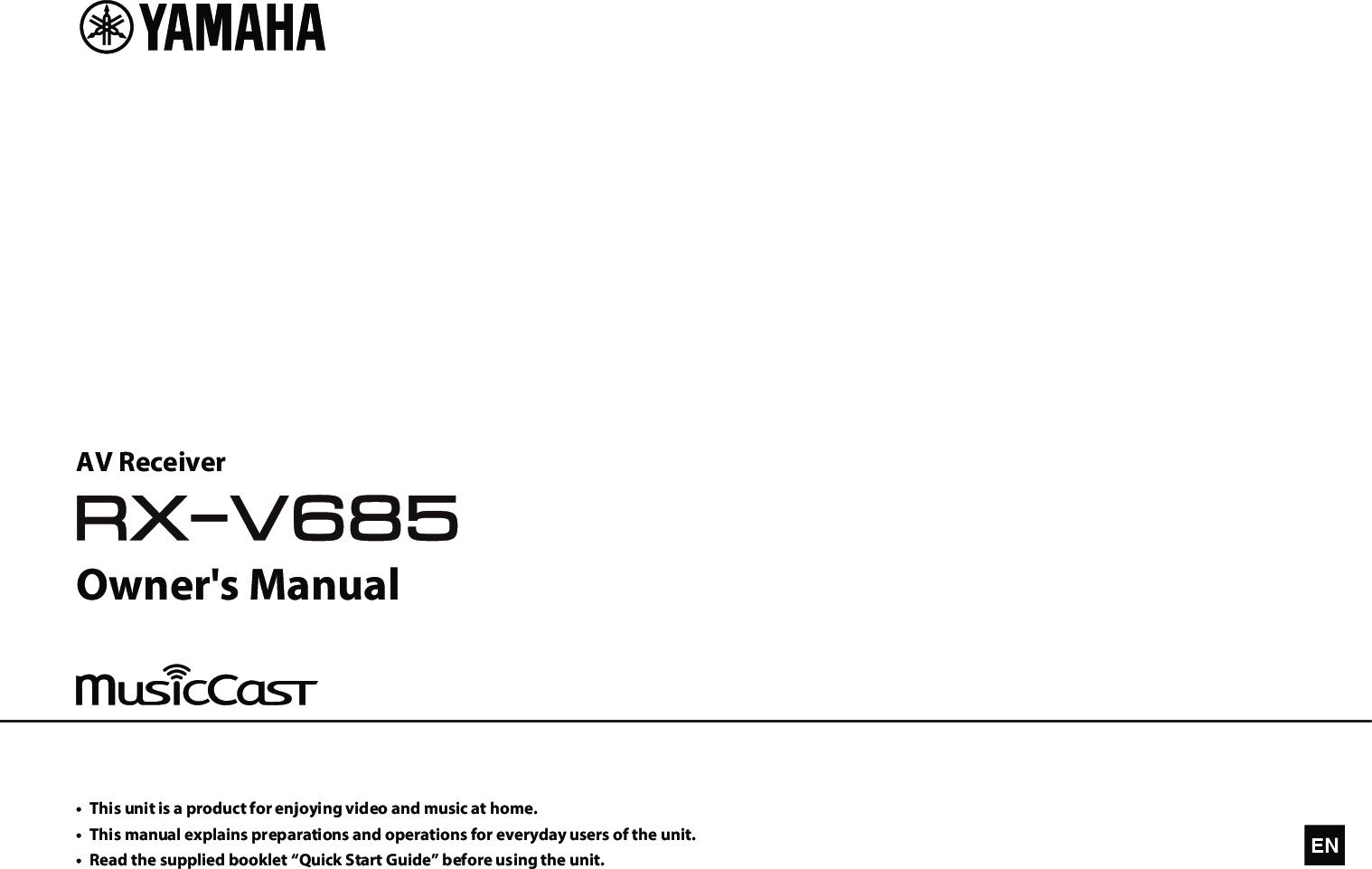 Yamaha RX V685 Owner's Manual Owner's Web AV17 0164 Om UCRABGLFH En A0