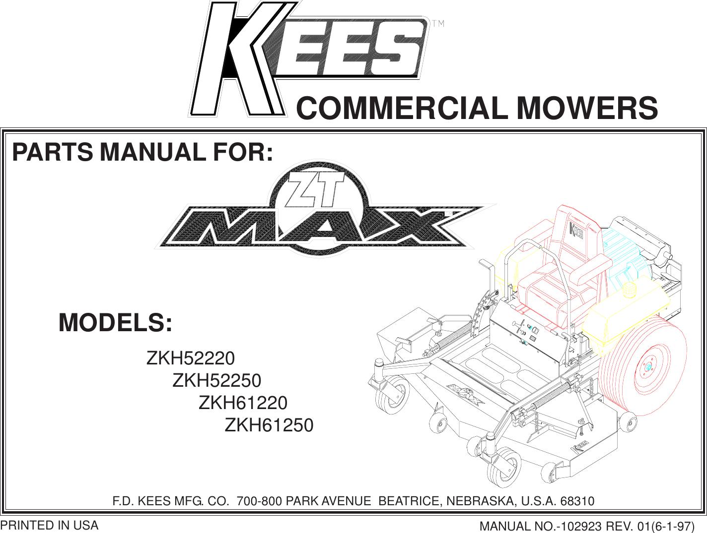 yazoo kees zkh52220 users manual ipl, zt max series, 1997 06, zero turn  rider mower, zkh52220, zkh52250, zkh61220, zkh61250 (turf care)