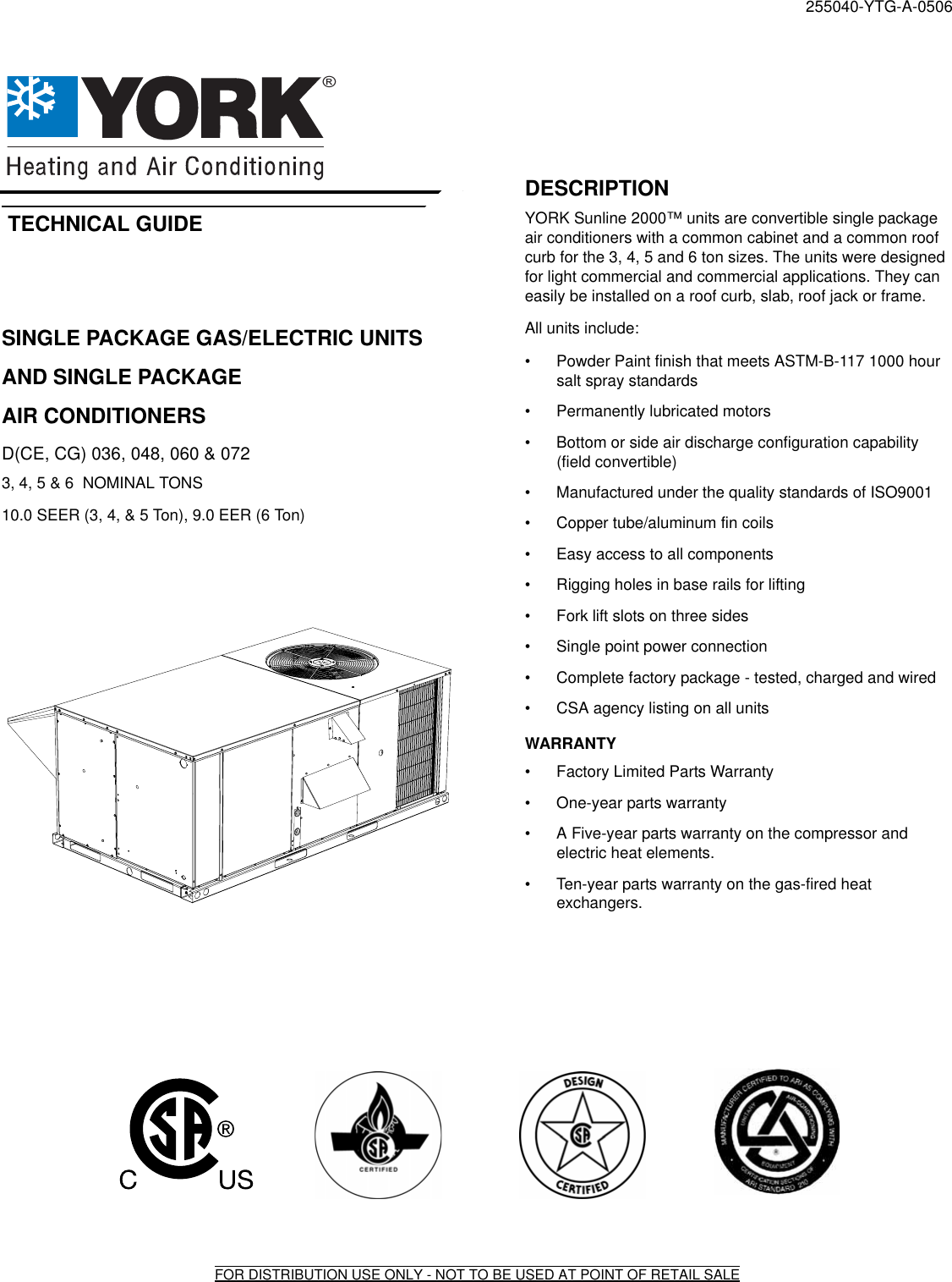 York 36 Users Manual Y Tg Single Package Gas Elec Units And Sgl Pkg
