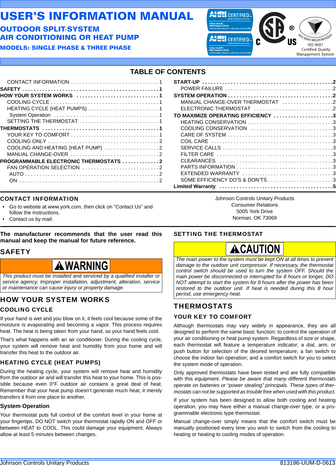 York Affinity Tchd Air Conditioner Owner S 813196 Uum D 0613 User Manual Heat Pump Schematic Page 1 Of 6
