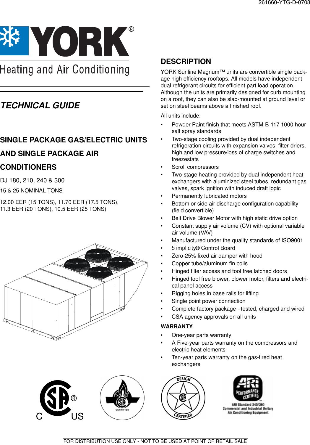 York Dj 300 Users Manual Y Tg Single Package Gas Elec
