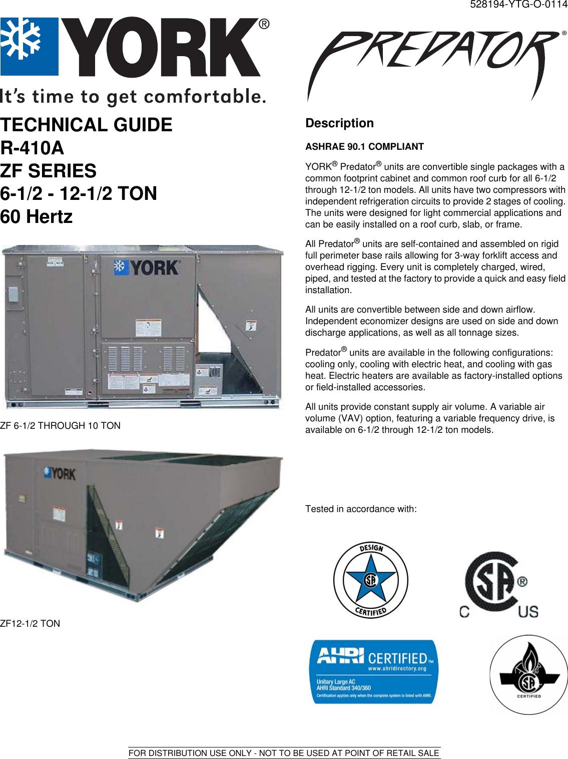 York Zf Predator R410A 11 2 Eer Technical Guide 528194 YTG O 0114