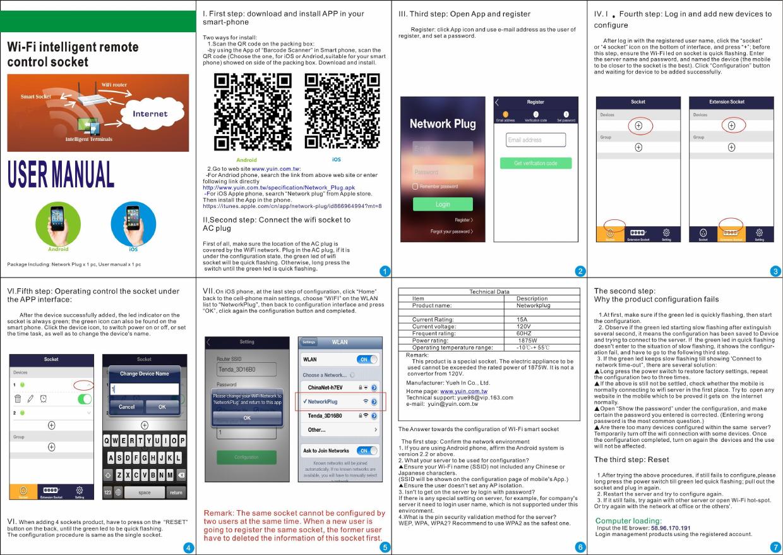 Yueh In YE-3200U NetworkPlug User Manual