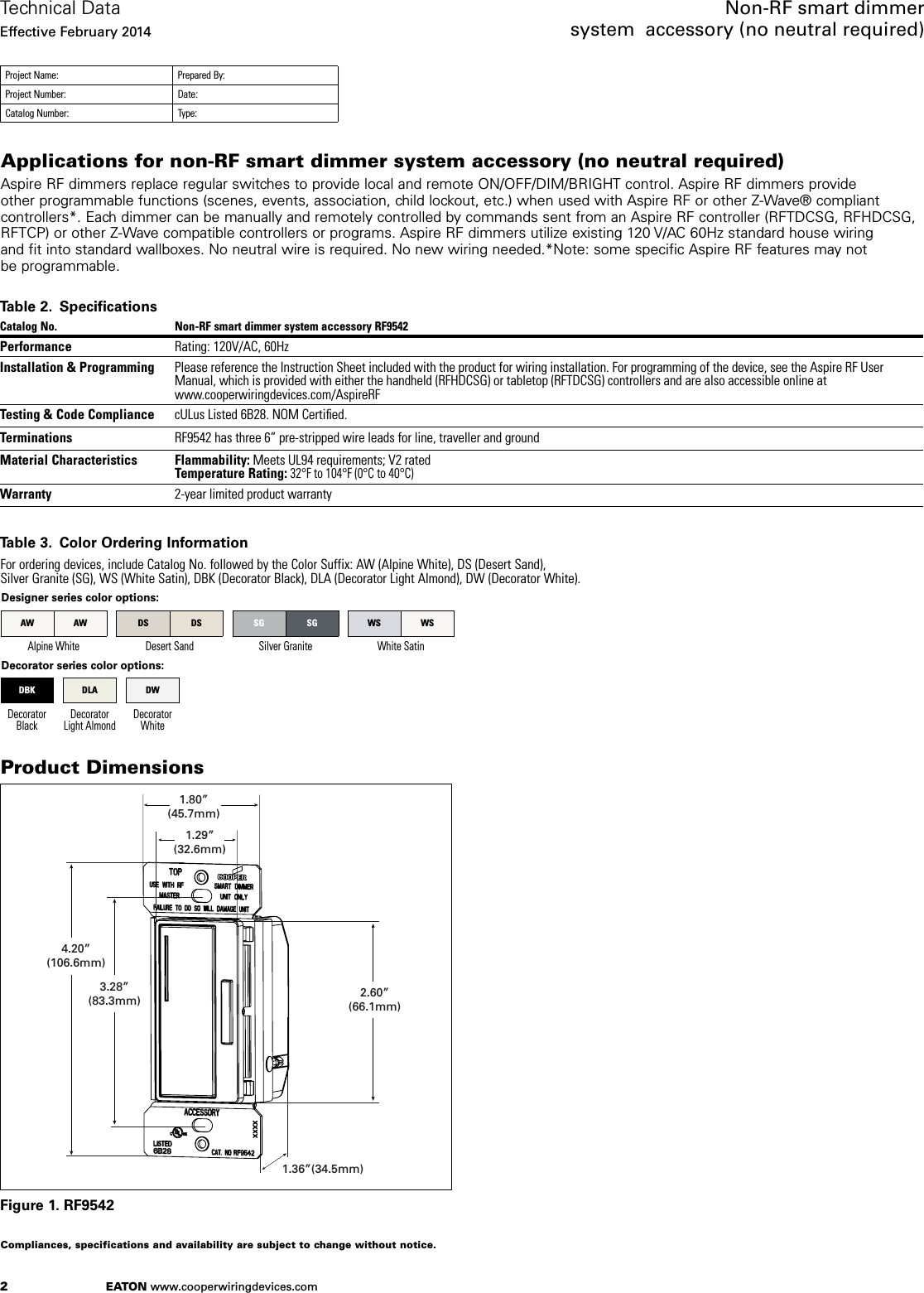 Z Wave B004fw2ndq Eaton Aspire Non Rf Rf9542 Smart Dimmer System Wiring Diagram Page 2 Of 4