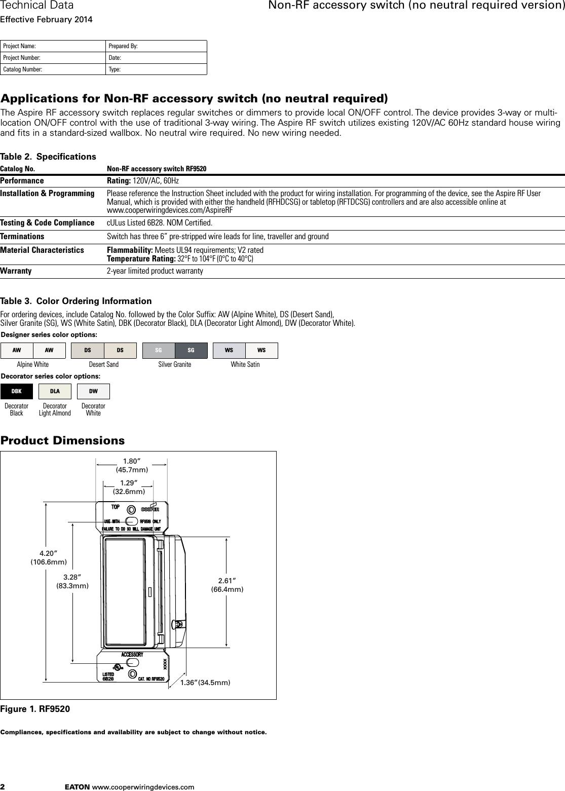 Z Wave B005ms80ji Eaton Aspire Rf9520 Accessory Switch Spec Sheet Cooper Wiring Page 2 Of 4