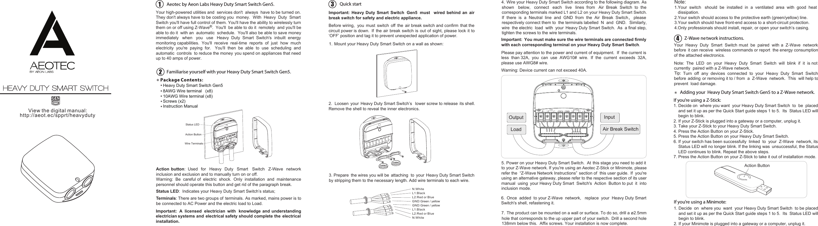 Z Wave B0151yxm2w Aeotec By Aeon Labs Heavy Duty Smart Plus Switch Wiring Gen5 Zw078 A Instruction Manual 501001000001 Ab User