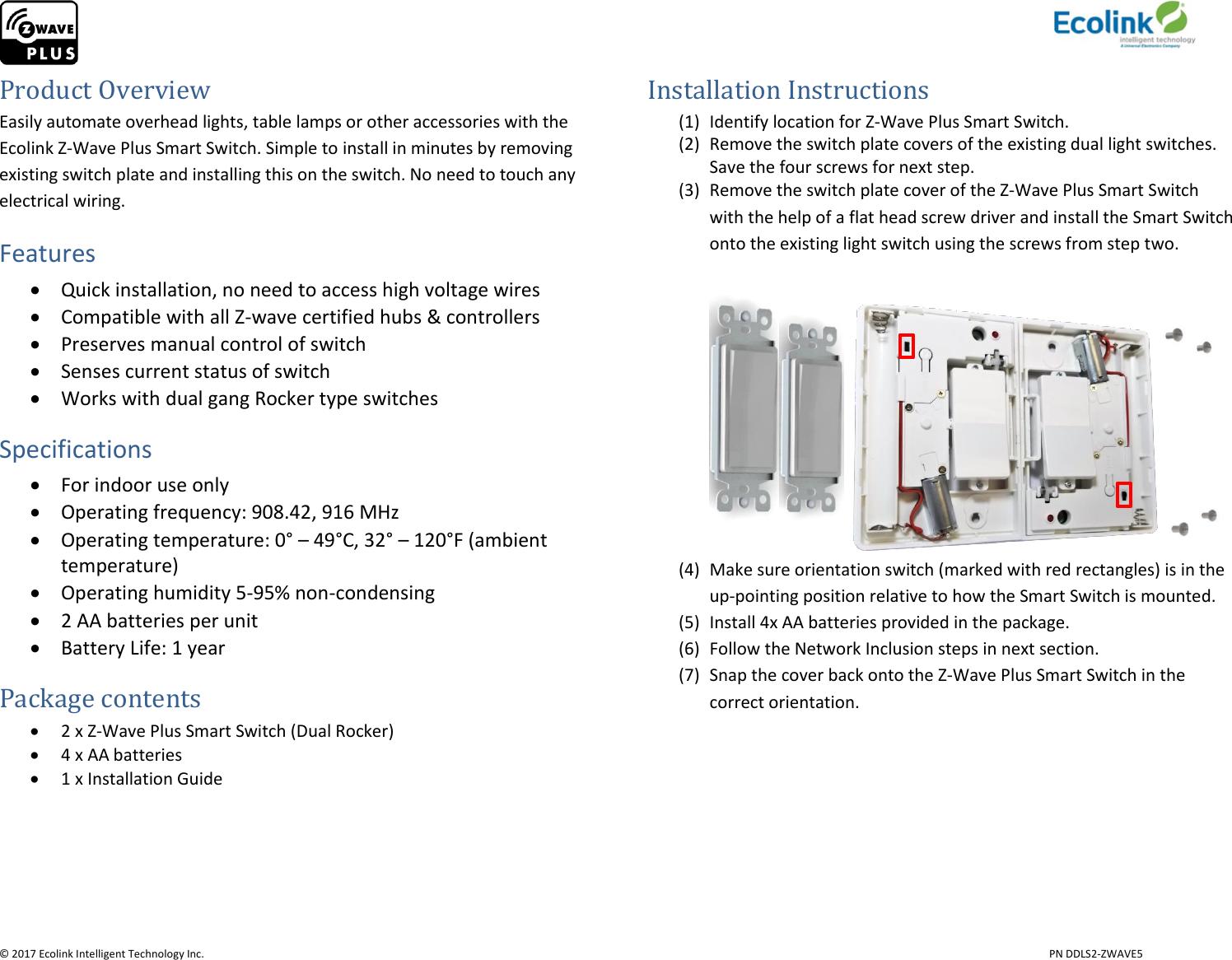 B07dcklwvw Ecolink Light Switch Ddls2 Zwave5 Manual Z Wave Wiring Diagram Page 2 Of 6