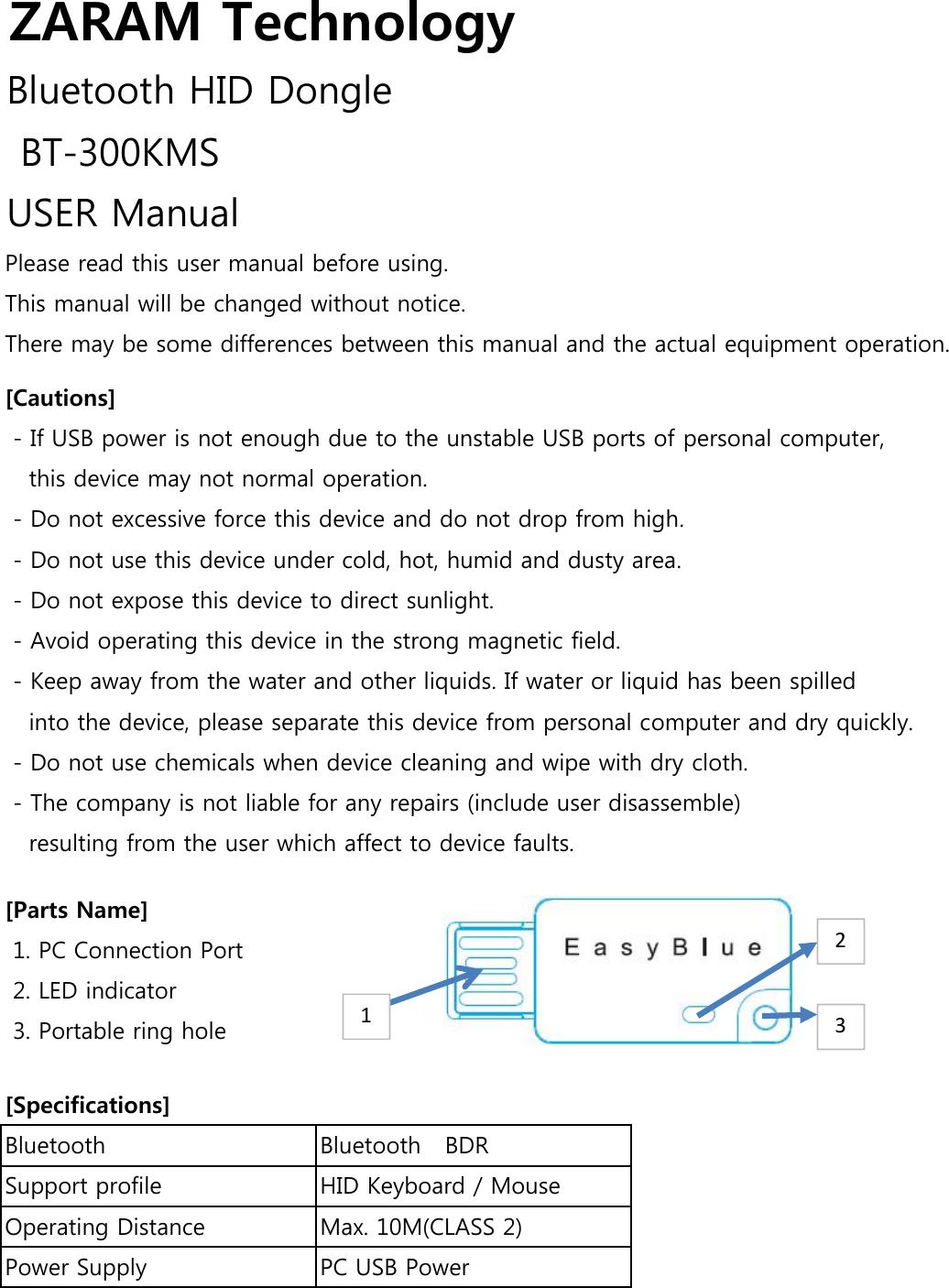 ZARAM TECHNOLOGY BT-300KMS Bluetooth HID Dongle User Manual