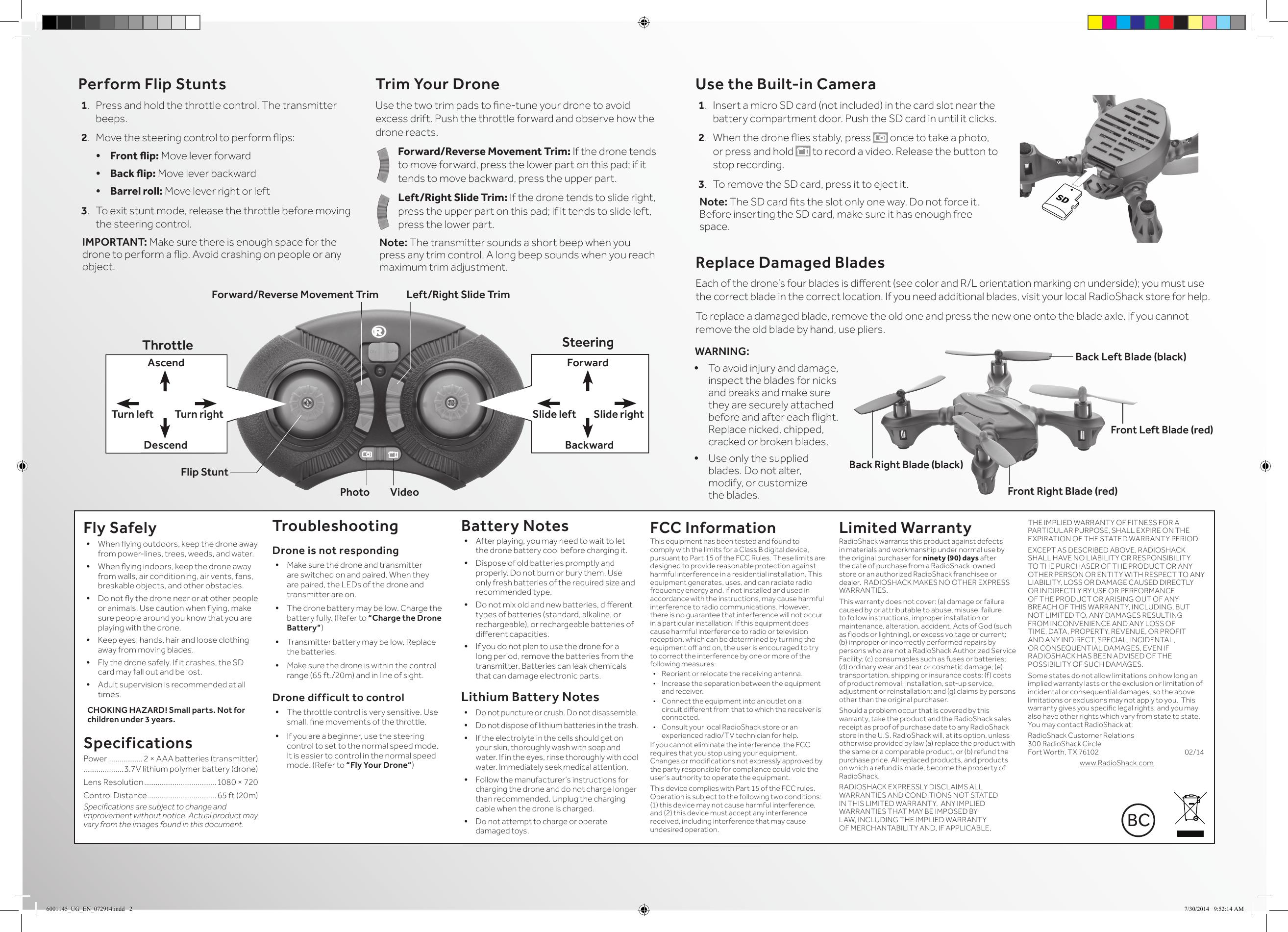 ZEGO ELECTRONIC 2RX Receiver of Surveyor Drone User Manual