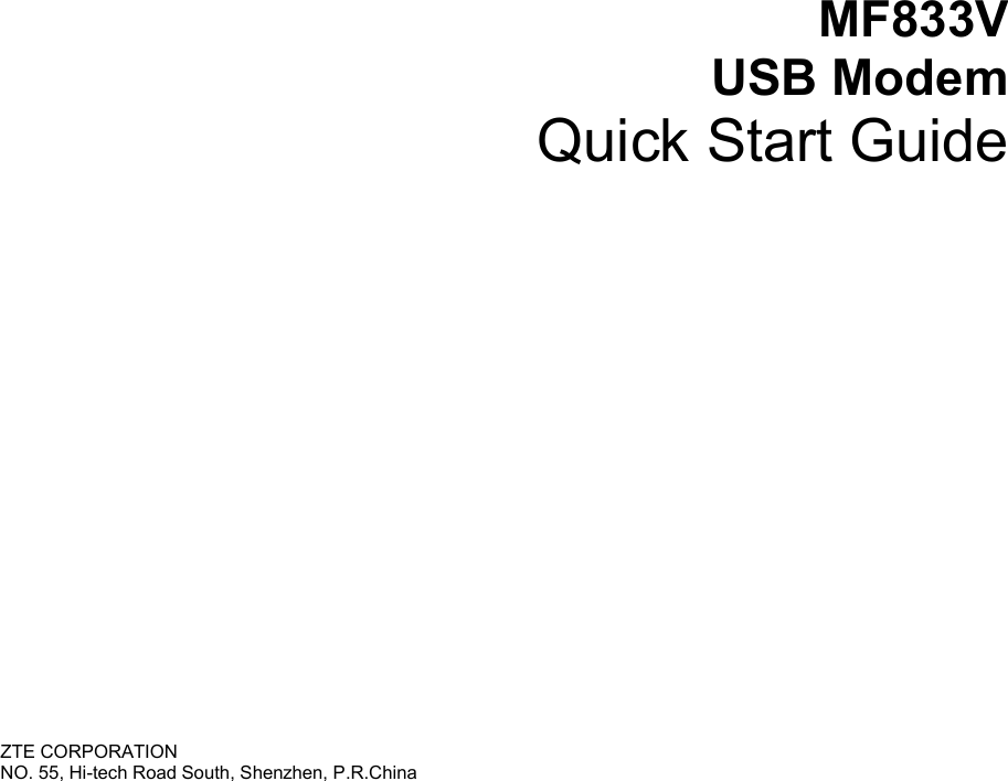 Page 1 of ZTE MF833V LTE/WCDMA/GSM(EDGE,GPRS) USB modem User Manual