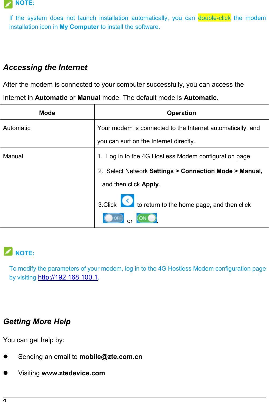 Page 6 of ZTE MF833V LTE/WCDMA/GSM(EDGE,GPRS) USB modem User Manual