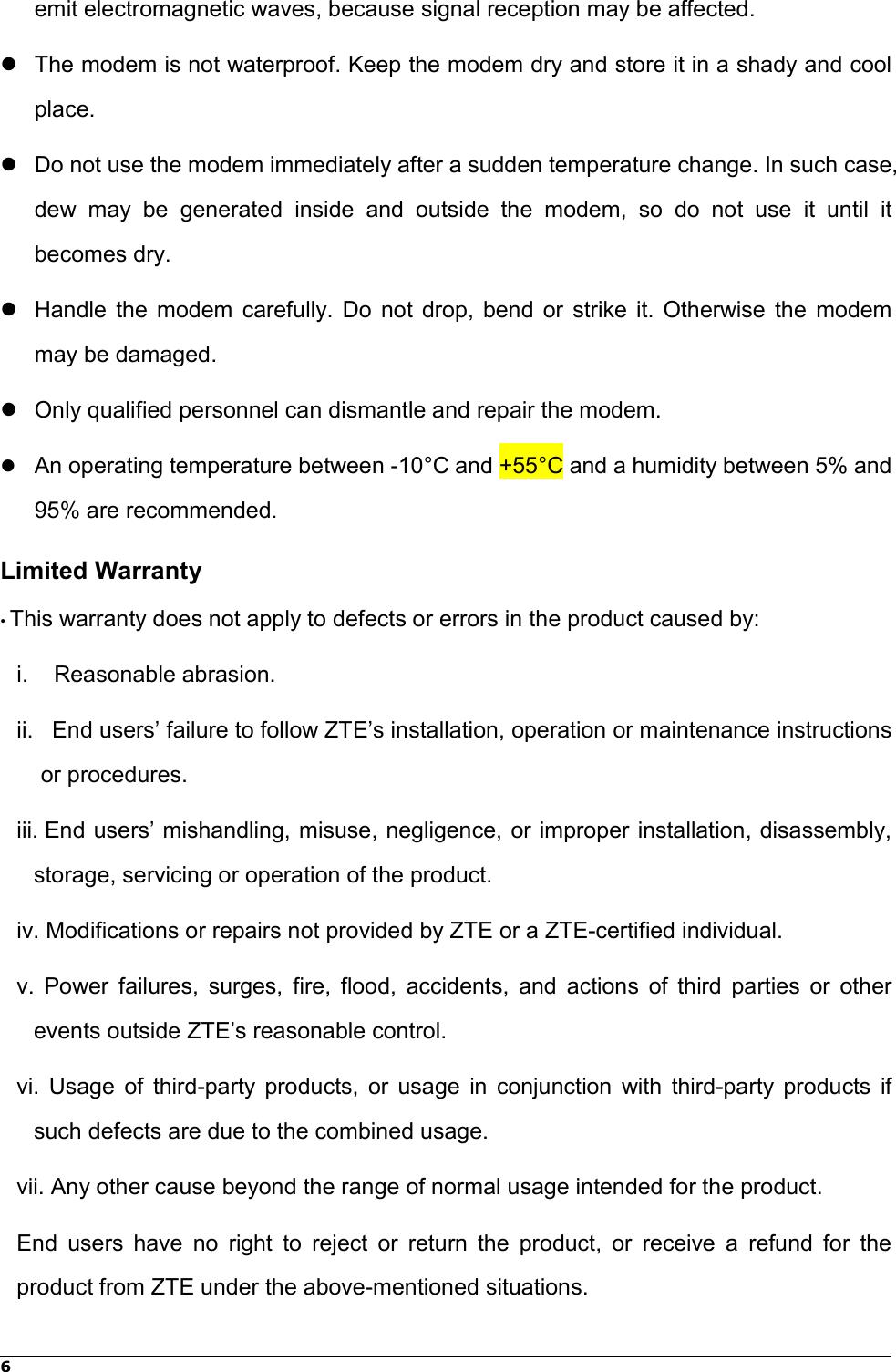 Page 8 of ZTE MF833V LTE/WCDMA/GSM(EDGE,GPRS) USB modem User Manual