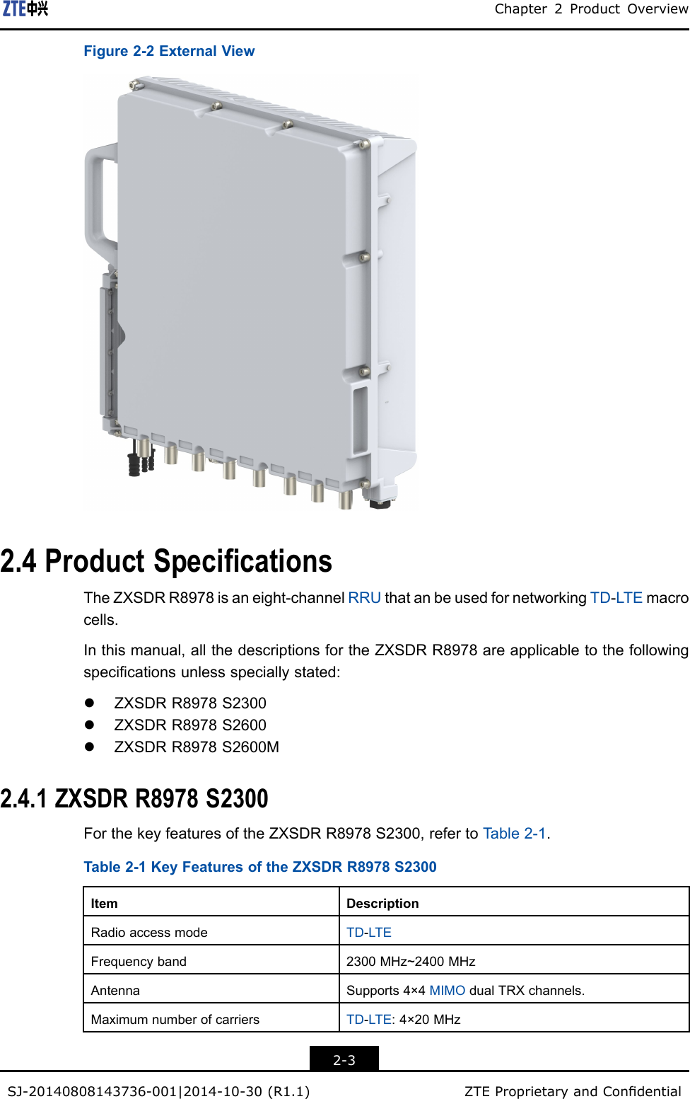 ZTE R8978S2600M LTE TDD RRU User Manual ZXSDR R8978 TDD 8
