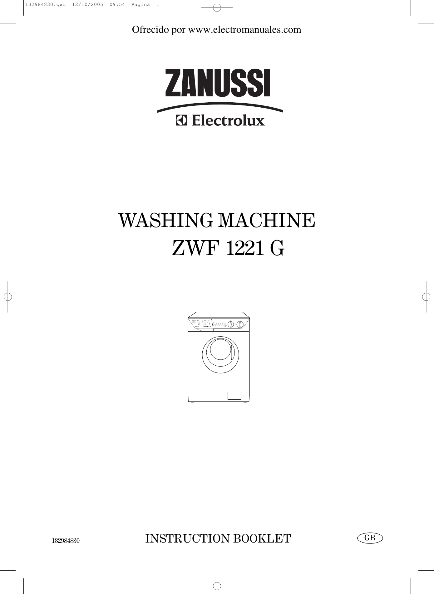 Zanussi Zwf 1221 G Users Manual 132984830 Washing Machine Drain Hose Additionally Wiring Diagram