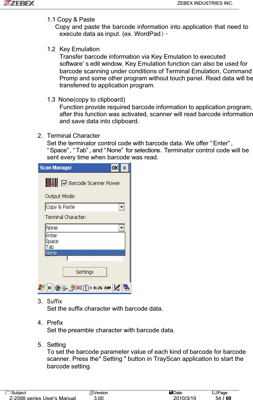 Zebex Z-2065S Windows CE NET Handheld Computer User Manual Z