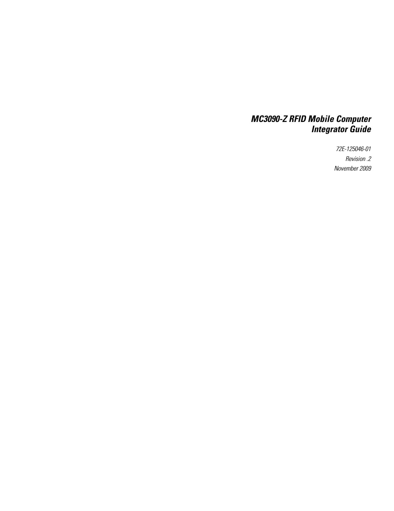 Zebra Technologies Mc3090z Mobile Computing Terminal User Manual