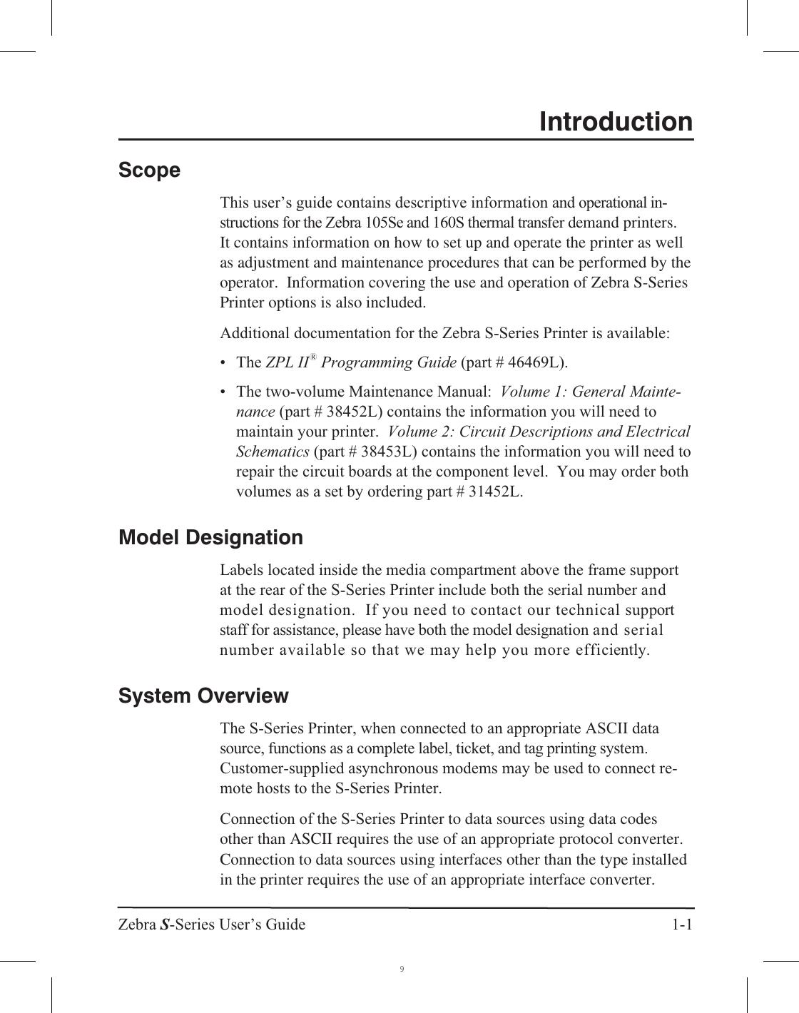 Zebra 105Se Users Manual