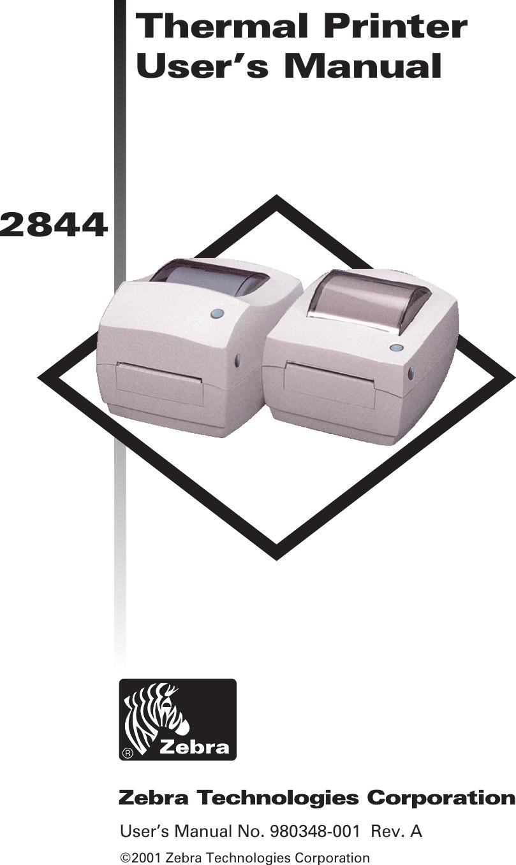 Zebra Eltron Tlp 2844 Users Manual 980348 001A_2844 UM vp